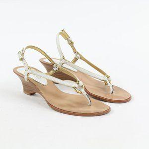 Coach Adrienne Wedge Thong Sandal Animal Print 7.5